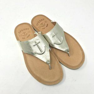 Sperry Sea Port Anchor Sandals Silver Excellent 7